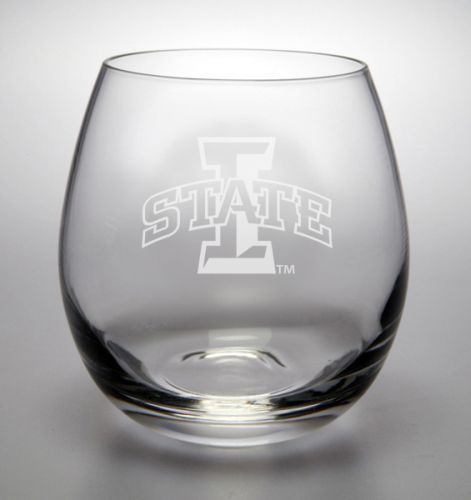 Iowa State Cyclones Deep Etched Stemless White Wine Glass