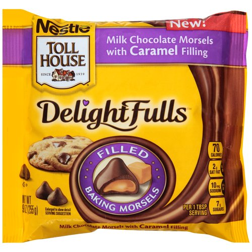 Nestle Toll House DelightFulls Milk Chocolate Morsels with Caramel Filling, 9 oz