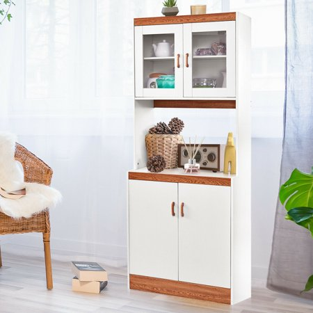 Gymax Tall Microwave Cart Stand Kitchen Storage Cabinet Shelves Pantry Cupboard White - image 7 of 10
