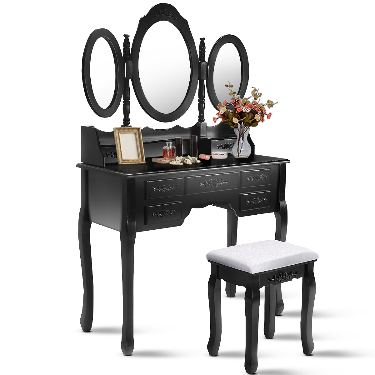 Attractive Costway Black Tri Folding Oval Mirror Wood Vanity Makeup Table Set With  Stool U00267 Drawers Bathroom