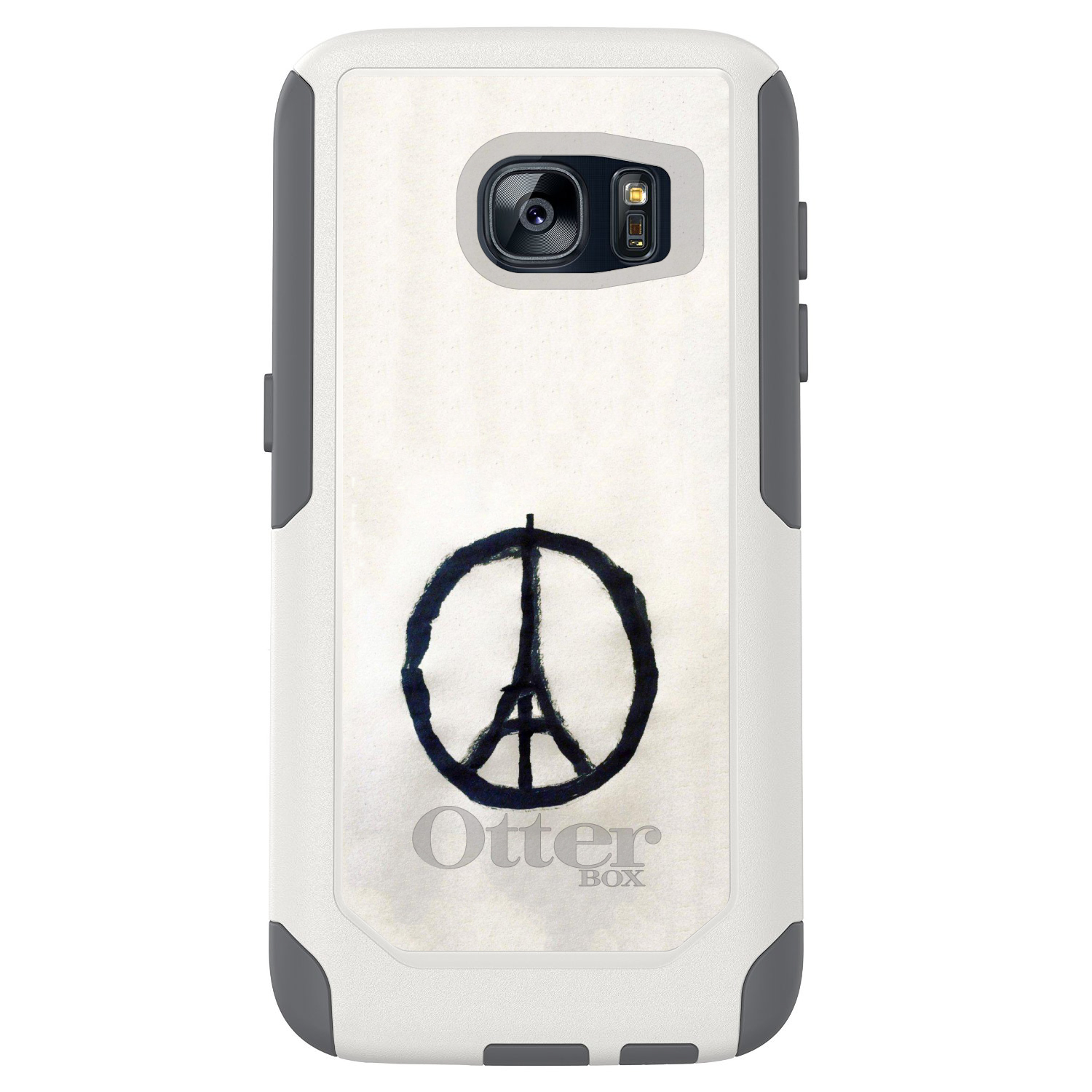 DistinctInk™ Custom White OtterBox Commuter Series Case for Samsung Galaxy S7 - Paris Peace Symbol