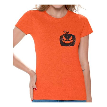 Awkward Styles Jack-O'-Lantern Pumpkin Pocket Tshirt Halloween Pumpkin T Shirt Halloween Shirt for Women Funny Gifts for Halloween Spooky Shirt Scary Pumpkin Tshirt Women's Halloween T-Shirt](Funny Spooky Halloween Quotes)