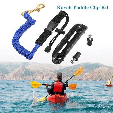 Kayak Paddle Clip Holder Kayak Canoe Mount Paddle Clip Kit with Paddle Leash Screws Well Nuts Kayak Accessory (Leash Kayak)