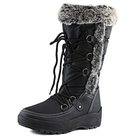 Black Knee High Lace Up Boots (DailyShoes Woman's Knee High Lace Up Warm Fur Water Resistant Eskimo Snow Boots, Black, 9 B(M))