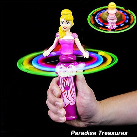 Hand Held Princess Doll Spinning Light Up Toy Wand For Girls