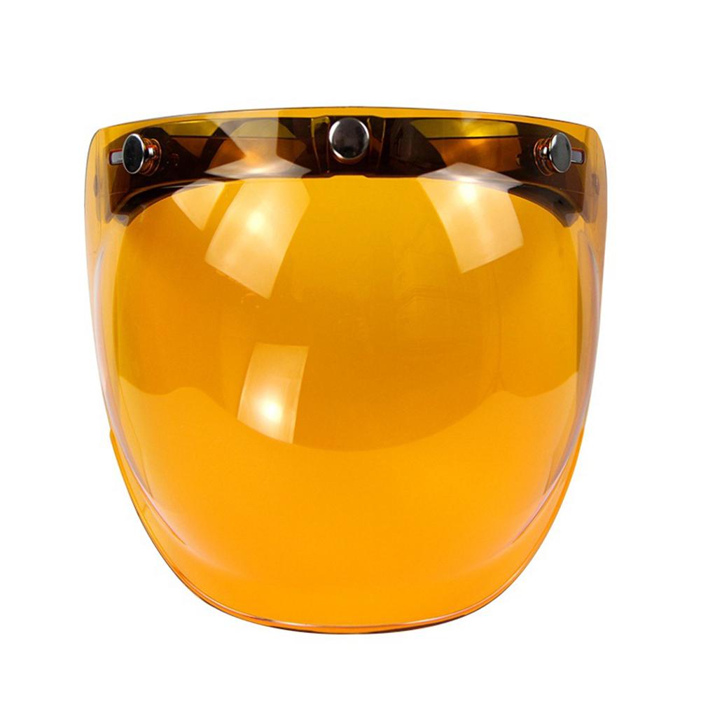 KLJKUJ Retro 3-snap Sunscreen Sun Shield Visor Bubble Mirro for Motorcycle Helmet Face Lens Amber