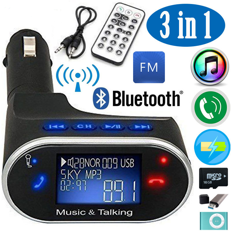 TSV Bluetooth Car Kit Radio Adapter Handsfree FM Transmitter for iPhone Samsung HTC