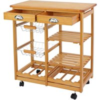 Kitchen Cart Island - Home Rolling Wooden Dining Storage Trolley Utility Cart W/ Drawers and Steel Baskets