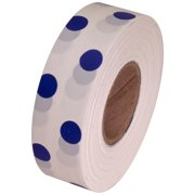 White and Blue Polka Dot Flagging Tape 1 3/16 inch x 300 ft Non-Adhesive