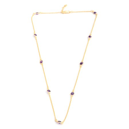 - 925 Sterling Silver 14K Yellow Gold Plated Round Amethyst Necklace for Women 18