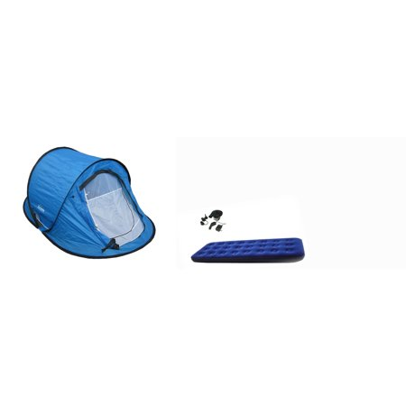 Pop Up Tent With Single Size Air Mattress And Dc Air Pump