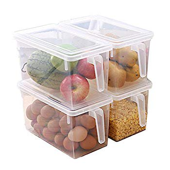 Large Refrigerator Food Storage Organizer Container with Lids, Clear Plastic Organizer Handle Bins Square Food Saver for Fruits, Vegetable, Meat, Pasta (Set of 4 Pack)
