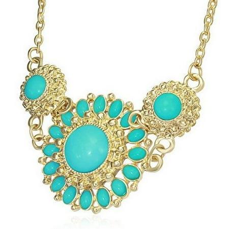 Gold Tone Bib (Fashion Vintage Simulated Turquoise Yellow Gold Tone Flower Charm Bib)