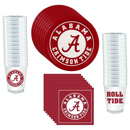 Alabama Crimson Tide Party Supplies - 81 pieces (Serves 24) - University Of Alabama Party Supplies