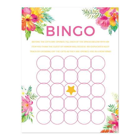 tropical floral garden party wedding bridal shower bingo game cards 20 pack
