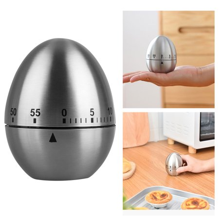 TSV Manual Kitchen Timer, Durable Metal Egg Shaped Mechanical Rotating Alarm with 60 Minutes for Cooking (Silver)