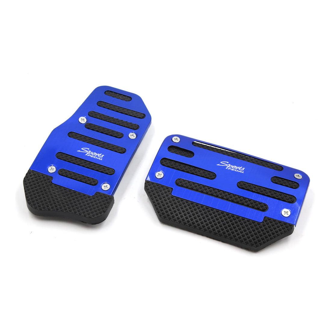 Unique BargainsCar Vehicle Metal Plastic Blue Non Slip Gas Brake Pedal Cover Pad 2 Pcs