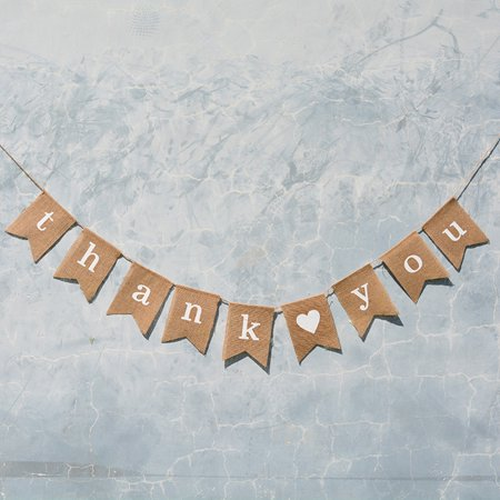 Burlap Wedding Decorations (Hibetterlife Thank you Retro Burlap Banner Wedding Birthday Party Decoration)