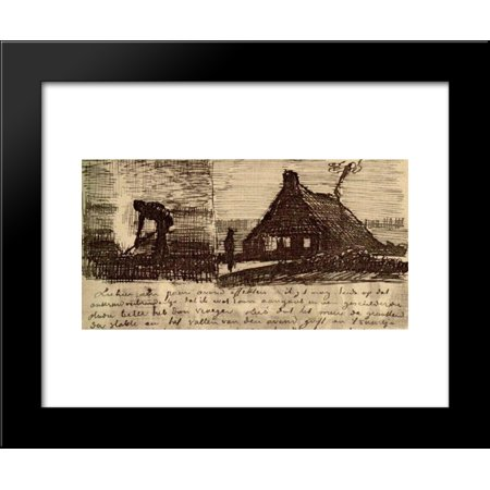 Peasant Burning Weeds, and Farmhouse at Night 20x24 Framed Art Print by Vincent van Gogh (Burning Farm)