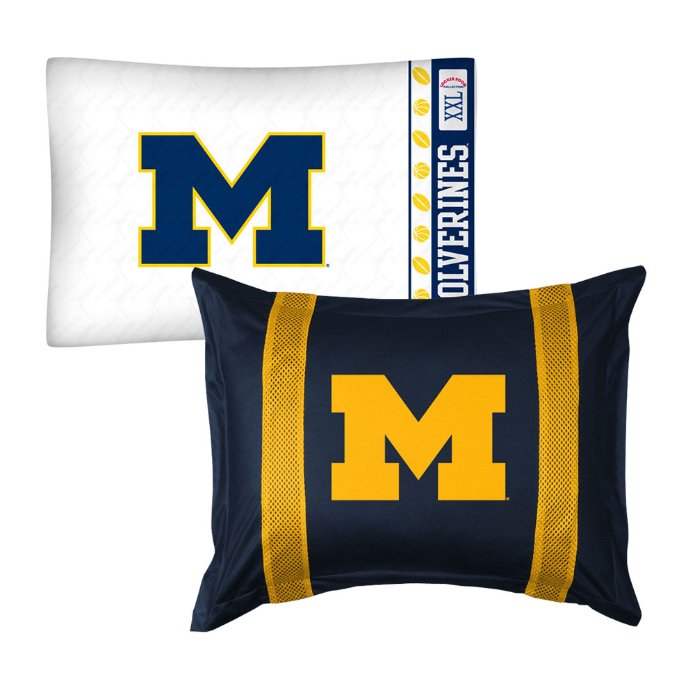 2pc NCAA Michigan Wolverines Pillowcase and Pillow Sham Set College Team Logo Bedding Accessories
