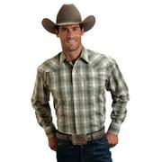 Stetson Western Shirt Mens L/S Plaid Snap Green 11-001-0478-0427 GR