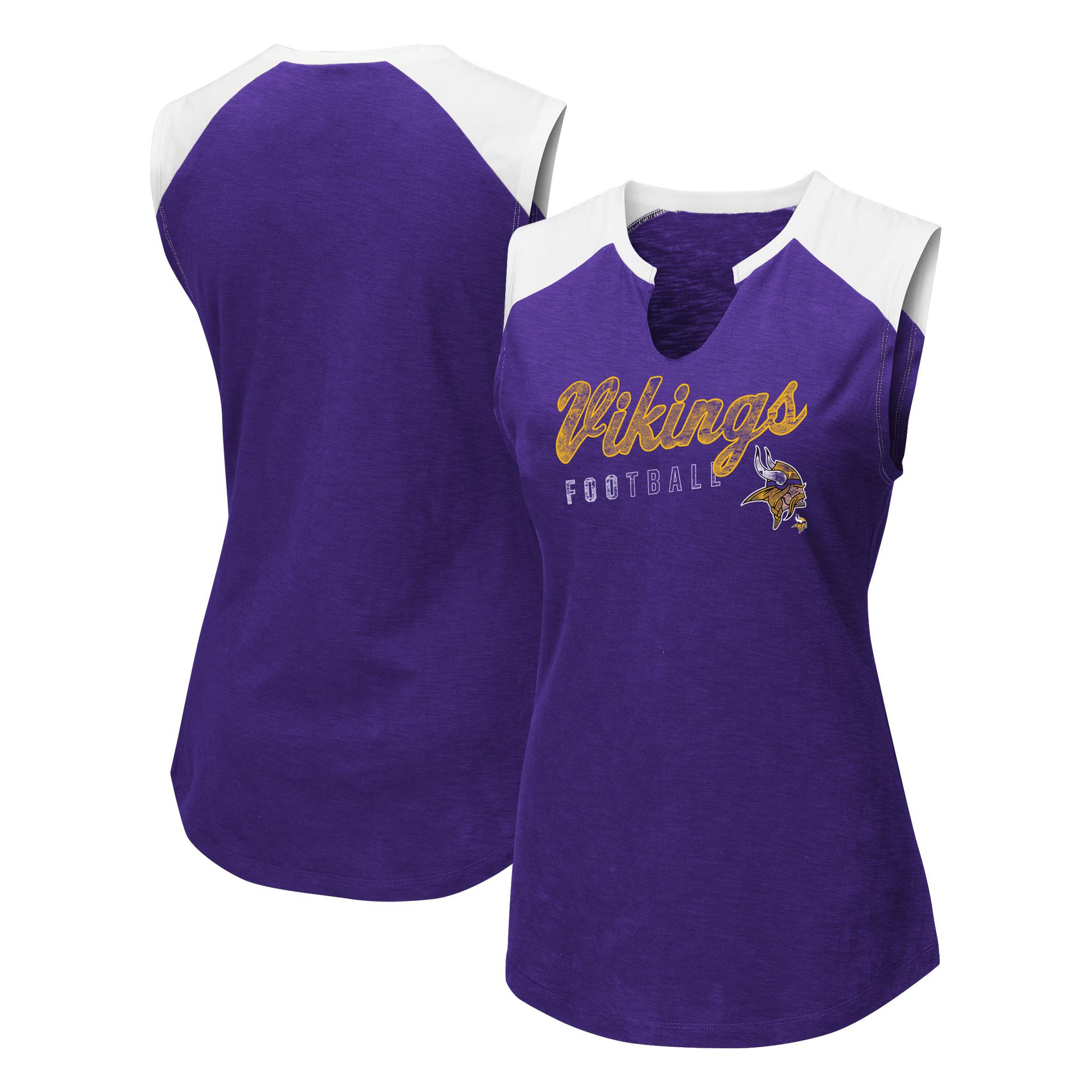 Minnesota Vikings Majestic Women's V-Notch Muscle Tank Top - Purple/White