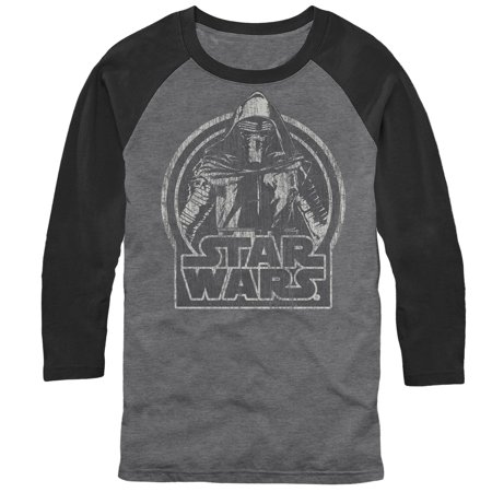 Star Wars The Force Awakens Men's Kylo Ren Classic Distressed Baseball Tee