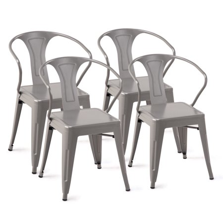 Costway Set of 4 Style Metal Chairs Arm Chair Kitchen Dining Side Chair Stackable
