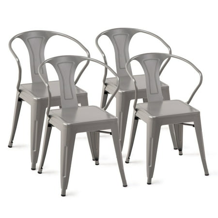 Super Set Of 4 Stackable Tolix Style Metal Chairs Arm Chair Kitchen Dining Side Chair Walmart Canada Interior Design Ideas Tzicisoteloinfo