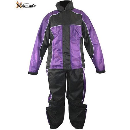 Xelement Xelement RN4764 Women's Black/Purple 2-Piece Motorcycle Rain Suit Black