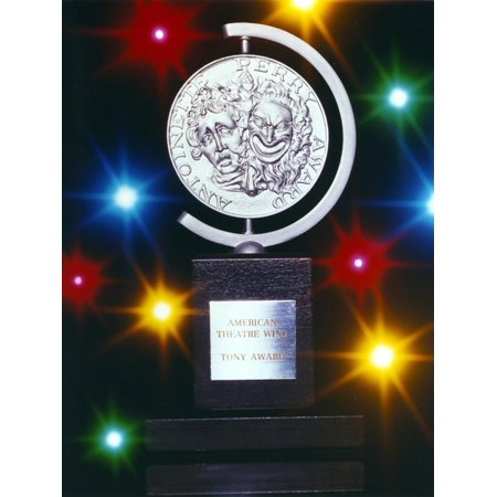Star Column Trophy - Tony Award Trophy Picture with Lights Background Print Wall Art By Movie Star News