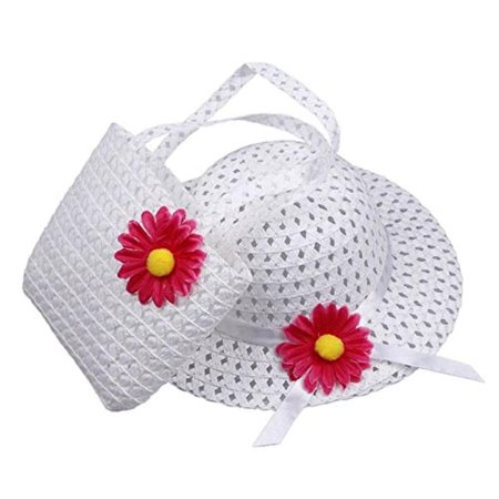 Girls Tea Party Hat and Purse Dress Up Set - White