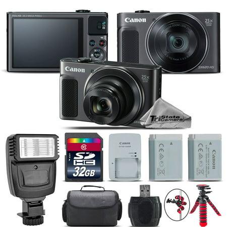 Black Battery Kit (Canon PowerShot SX620 HS Black Digital Camera + Extra Battery + Flash - 32GB Kit)