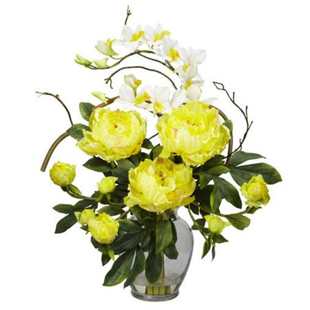 21.5 in. H Yellow Peony and Orchid Silk Flower Arrangement This exquisite Peony and Dendrobium arrangement projects a perfect harmony of color and design. The bright, tasteful, and colorful weaving of different textures and flower types creates a splendor thats simply not found in a single species. Standing at over 21 inches high and set in a glass vase with liquid illusion faux water, this makes the perfect addition to any home or office, and also makes a great gift.A perfect harmony of color and design.Brighten up any room or office space.Will look great for years to come.Color: Yellow.Color Family : Yellows / Golds.Container finish: Clear.Container depth (in.): 5.5.Container finish family : Clear.Container height (in.): 7.5.Container included: Yes.Container material: Glass.Container width (in.): 5.5.Decor Product Type: Decorative Accessory.Product Type: Artificial Plant.Plant variety: Orchid.Depth (in.): 16.Height (in.): 21.5 .Width (in.): 19.0.- SKU: ZX9DSD540571