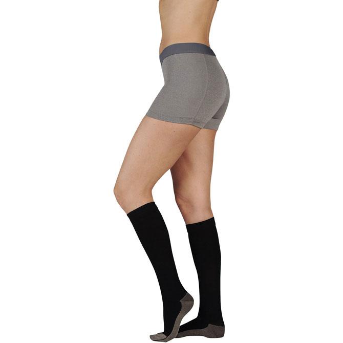Juzo 2001 Silver Soft Sole Ribbed Knee High Socks - 20-30 mmHg  Reg JUZO2001RIADFF-P