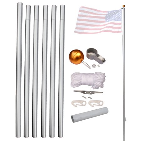 Gizmo Supply Heavy Duty 20' Aluminum Residential Sectional Flag Pole Kit with 3' x 5' US