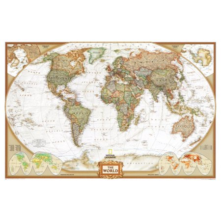 World Political Wall Map, Executive Style Antique Tones Educational E... Executive World Wall Map