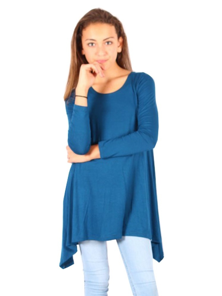 Lori&Jane Girls Blue Solid Long Sleeved Uneven Length Trendy Top