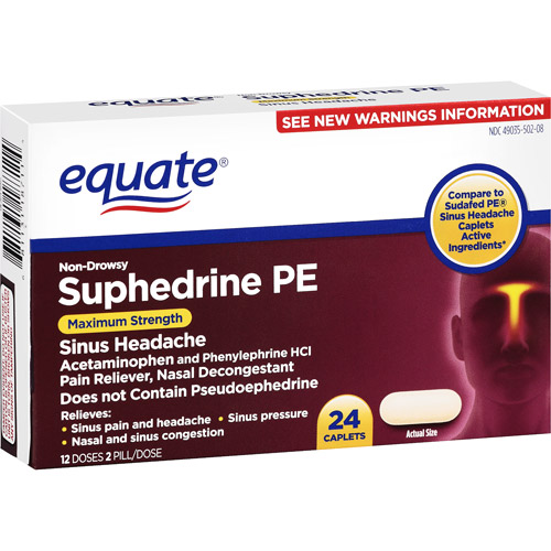Equate: Suphedrine P3 Sinus Headache Caplets Nasal Decongestant/Pain Reliever, 24 Ct