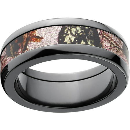 Mossy Oak Pink Break Up Womens Camo 5Mm Black Zirconium Band With Polished Edges And Deluxe Comfort Fit