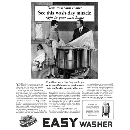 Ad Washing Machine 1927 Namerican Advertisement For Easy Washer Manufactured By The Syracuse Washing Machine Corporation 1927 Poster Print by Granger Collection Ad: Washing Machine, 1927. /Namerican Advertisement For Easy Washer, Manufactured By The Syracuse Washing Machine Corporation, 1927. was reproduced on Premium Heavy Stock Paper which captures all of the vivid colors and details of the original.Brand New and Packaged carefully in a oversized protective tube.  This item Ships Rolled to insure maximum protection.Print Title: Ad: Washing Machine, 1927. /Namerican Advertisement For Easy Washer, Manufactured By The Syracuse Washing Machine Corporation, 1927.Product Type: Fine Art PrintArtist:   Granger Collection