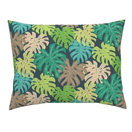 Tropical Green Monstera Leaf Hawaiian Tiki Party Decor Pillow Sham by Roostery