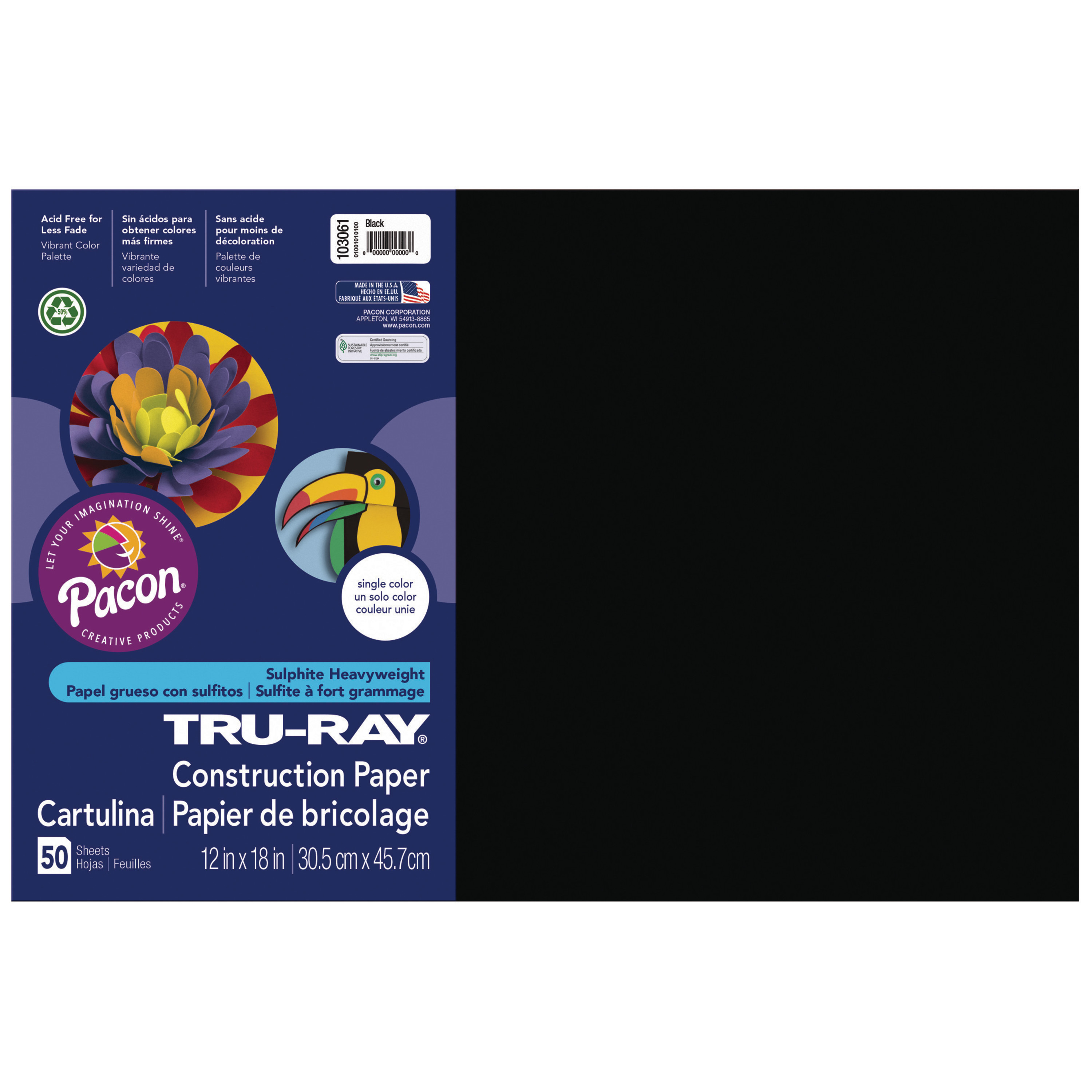 40 Sheets 9 x 12 Inches Pacon Tru-Ray Sulphite Construction Paper Pad Black