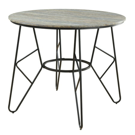 Emerald Home Emmett Stone Gray and Black Round Gathering Height Dining Table with Round Tabletop And Metal Base ()