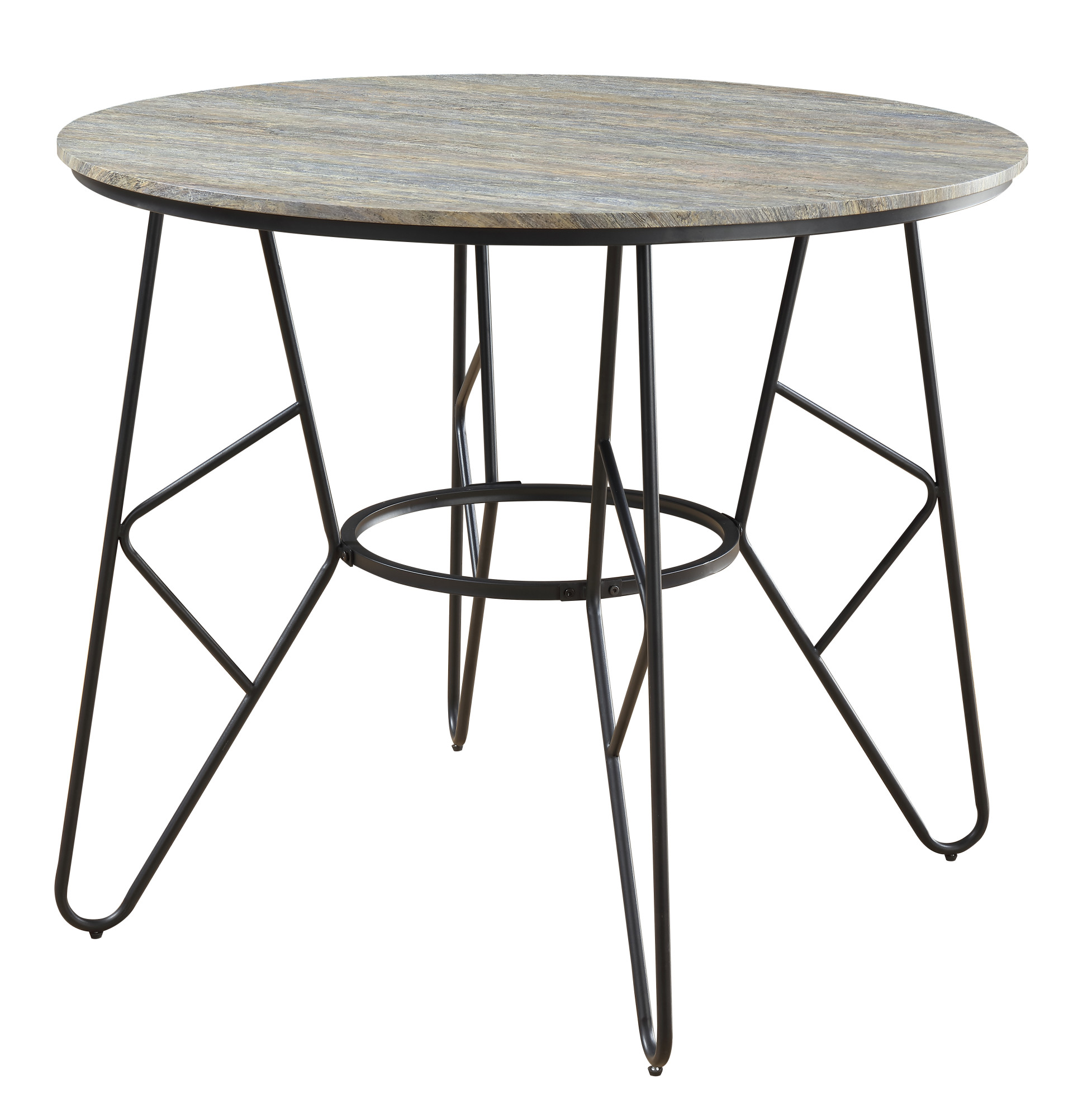 Emerald Home Emmett Stone Gray And Black Round Gathering Height Dining  Table With Round Tabletop And Metal Base