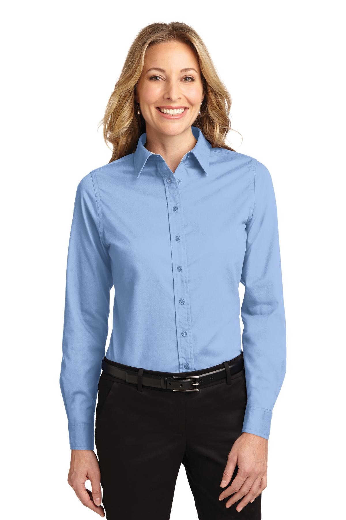 a7e8931967 Port Authority® Ladies Long Sleeve Easy Care Shirt. L608 Light Blue ...
