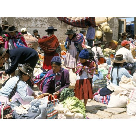 Sunday Market at Tarabuco, Near Sucre, Bolivia, South America Print Wall Art By Tony (Houses For Sale In Bolivia South America)