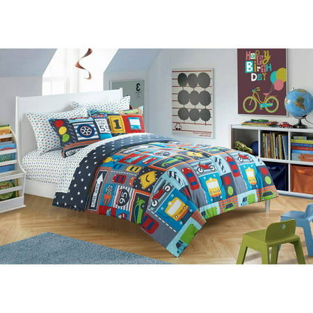 American Toddler Busy Cars 3 Piece Bedding Set With Bonus Matching Pillowcase