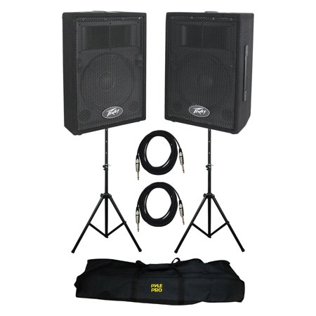 - Peavey DJ 2-Way PA Speaker System (2 Speakers) + Stands with Cable Kit (2 Pack)