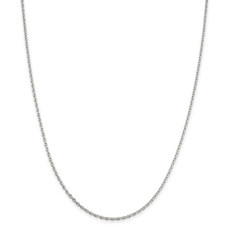 925 Sterling Silver 2mm Beveled Oval Link Cable Chain Necklace 22 Inch Pendant Charm Fine Mothers Day Jewelry Oval Link Cable Chain